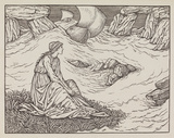 Illustration of woman by the sea