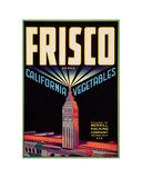 Crate Label for Frisco Brand California Vegetables  Merril Packing Company  Salinas  California  ca