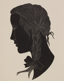 Engraving of a girl's head