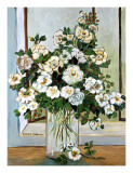 White Roses in Blue