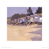 Beach Huts Against Fir Trees