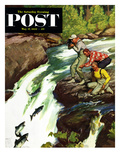 """Salmon Running Upstream"" Saturday Evening Post Cover  May 17  1952"