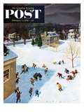 """Snowball Recess"" Saturday Evening Post Cover  February 4  1956"