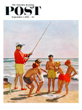 &quot;Big Pole Little Fish&quot; Saturday Evening Post Cover  September 1  1956