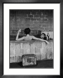 Actor Steve McQueen and Wife Taking Sulfur Bath at Home