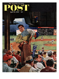 """Sleepy Inning"" Saturday Evening Post Cover  April 23  1955"