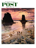 """Pacific Ocean Sunset"" Saturday Evening Post Cover  July 27  1957"