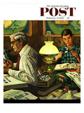 """Stamp Collecting"" Saturday Evening Post Cover  February 27  1954"