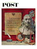 """Benjamin Franklin - Bust and Quote"" Saturday Evening Post Cover  January 21  1956"
