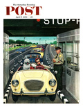 """Stop and Pay Toll"" Saturday Evening Post Cover  April 7  1956"
