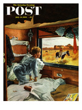 """Train Window on the West"" Saturday Evening Post Cover  July 24  1954"