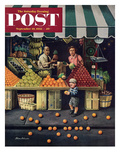 """Towddler and Oranges"" Saturday Evening Post Cover  September 19  1953"