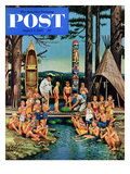 """Watermelon at Camp"" Saturday Evening Post Cover  August 1  1953"