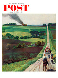 &quot;Chasing the Fire Truck&quot; Saturday Evening Post Cover  June 30  1956