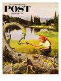 """Feeding Chipmunks"" Saturday Evening Post Cover  May 16  1953"