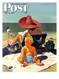 """Baby & Nail Polish"" Saturday Evening Post Cover  July 22  1950"