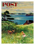 """""""Two Little Dears"""" Saturday Evening Post Cover  August 25  1956"""