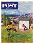 """Oregon Baseball"" Saturday Evening Post Cover  April 21  1951"