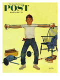 """Working Out"" Saturday Evening Post Cover  March 14  1959"