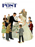 """Cutting the Cake"" Saturday Evening Post Cover  May 17  1958"