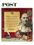 """Benjamin Franklin - Bust and Quote"" Saturday Evening Post Cover  January 18  1958"