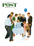 """First Birthday"" Saturday Evening Post Cover  November 2  1957"