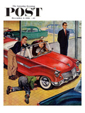 """Automobile Showroom"" Saturday Evening Post Cover  December 8  1956"