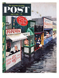 """Rain on the Boardwalk"" Saturday Evening Post Cover  July 2  1955"