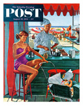 """Babysitter at Beach Stand"" Saturday Evening Post Cover  August 28  1954"