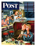 """Diner Engagement"" Saturday Evening Post Cover  July 15  1950"