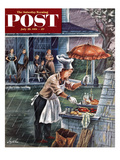 """Rainy Barbecue"" Saturday Evening Post Cover  July 28  1951"