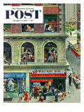 """World Series Scores"" Saturday Evening Post Cover  October 2  1954"