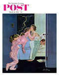 """Lighting Storm"" Saturday Evening Post Cover  March 22  1958"