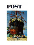 &quot;Big Ship at Dock&quot; Saturday Evening Post Cover  November 5  1955