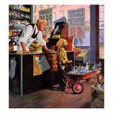 """Returning Bottles for Refund"", March 28, 1959 Giclée par George Hughes"
