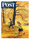 """Walking Home Through Leaves"" Saturday Evening Post Cover  October 7  1950"