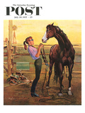 """Putting on the Bridle"" Saturday Evening Post Cover  July 20  1957"