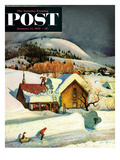 """Deep Snow Fall"" Saturday Evening Post Cover  January 23  1954"