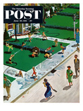 &quot;Water Fight&quot; Saturday Evening Post Cover  June 30  1951