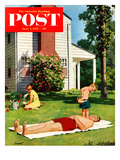 """Watering Father"" Saturday Evening Post Cover  June 4  1955"
