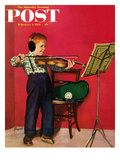 """Violin Practice"" Saturday Evening Post Cover  February 5  1955"