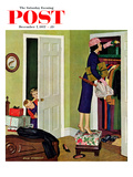 """Hiding the Presents"" Saturday Evening Post Cover  December 7  1957"