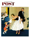 """Formal Hug"" Saturday Evening Post Cover  February 15  1958"