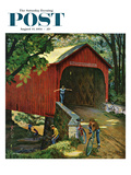 """Covered Bridge"" Saturday Evening Post Cover  August 14  1954"