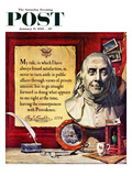 """Benjamin Franklin - Bust and Quote"" Saturday Evening Post Cover  January 17  1959"