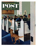 """Dog Walks Down Aisle of Church"" Saturday Evening Post Cover  March 24  1956"