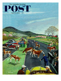 """Slow Mooving Traffic"" Saturday Evening Post Cover  April 11  1953"