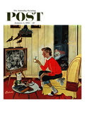 """New Years Eve Babysitter"" Saturday Evening Post Cover  January 4  1958"