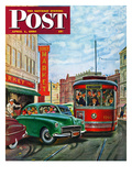"""Parallel Parking"" Saturday Evening Post Cover  April 1  1950"