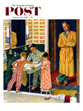 """Brushing Their Teeth"" Saturday Evening Post Cover  January 29  1955"